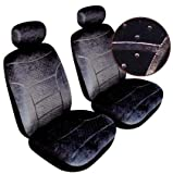 Porsche 968 Domino Front Pair Car Seat Covers in Grey Velour Fabric