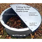 """44""""Dia Round Stainless Steel Folding Fire Pit Cover Lid"""