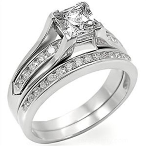 1.5ct cz Princess cut Bridal Wedding Ring Set Platinum plated Cubic Zirconia