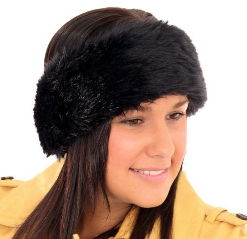 New In Season Womens Elasticated Fur Headband Available In Variety Of Winter Colours Black Fur Reviews