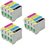 3 FullSet : 12 High Capacity Compatible ink cartridges 3x T711 Black 3x T712 Cyan 3x T713 Magenta 3x T714 Yellow for Epson Stylus Printers B40W BX300F BX310FN BX3450F BX600FW BX610FW CX4300 D78 D92 D120 DX4000 DX405 DX4050 DX4400 DX4450 DX5000 DX5050 DX5