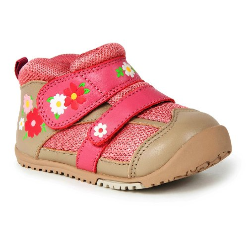 Momo Baby First Walker/Toddler Field of Flowers Pink Leather Sneakers 6 US
