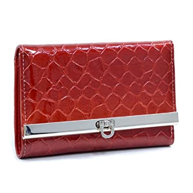 Dasein Women's Snake Skin Leather Like Tri-fold Wallet - Blossom Red