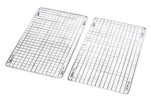 DecoBros 2 Pack 10x16 inches Cooling Rack Wire Steel Pan Grade, Chrome