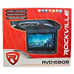 "Rockville RVD15BGB Black/Grey/Tan 15"" Flip Down Car Monitor With DVD Player With HDMI, USB/SD Inputs, Games, And Wireless Remote/Game Controller"
