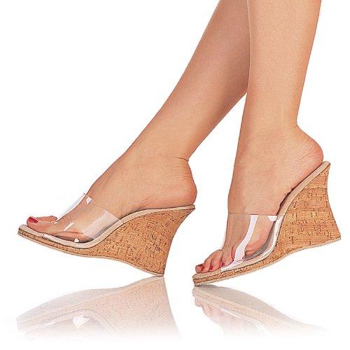 SNAPSHOT-401, 4'' Heel, Clear/Cork Sandals, by Pleaser USA