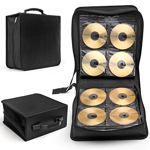 Flexzion CD DVD Carrying Case 288 Capacity Disc Bluray Storage Box Organizer Holder Album Container Wallet Solution Page Sleeves Binder Portable in Black (Movie Case Storage compare prices)