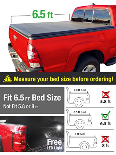Premium TriFold Tonneau Truck Bed Cover For 2002-2016 Dodge Ram 1500; 2003-2016 Dodge Ram 2500/3500; 06-11 Ram Mega Cab 6.5 feet (78 inch) Trifold Truck Cargo Bed Tonno Cover (NOT For Stepside) (Rollnlock Truck Bed Cover compare prices)