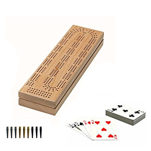 WE Games Cabinet Cribbage Set - Solid Maple Wood Continuous 3 Track Board with Easy Grip Pegs, Cards and Storage Area (Made in USA)