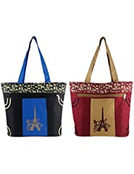 Diyaras Heavy Matty Navy Blue- Black & Maroon-Beige Women's Shoulder Or Shopping Bag. (Pack Of 2)