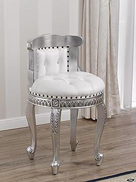 Sessel Sitzsack Barock Modern Blatt Silber Kunstleder weiß Knöpfen Swarovski