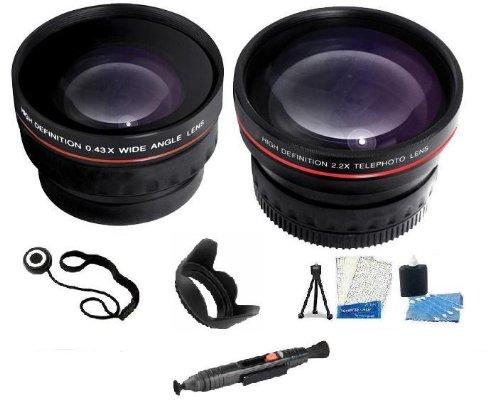 58Mm Lens Kit Includes 58Mm 2X Telephoto Hd Zoom Lens + 0.43X Wide Angle Lens + Lens Cleaning Pen + Lens Hood + Mini Tripod + Camera Cleaning Kit + Lcd Screen Protectors For Canon Eos Rebel Xt Xti Xsi T1I T2I T3I T3 20D 5D 300D 350D 450D 400D 10D T2 40D 5