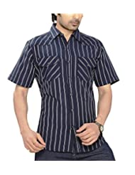 Moksh Dark Blue White Slim Fit Cotton Shirt I0414MS01SS