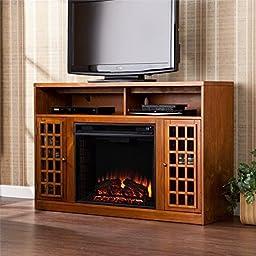 Pemberly Row Media Electric Fireplace in Glazed Pine