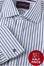 Sartorial Pure Cotton Satin Stripe Shirt