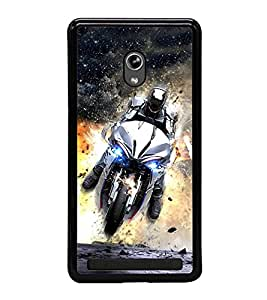 Fuson Premium 2D Back Case Cover Man on bike With Multi Background Degined For Asus Zenfone 6::Asus Zenfone 6 A600CG