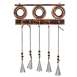 Beautiful Wooden Wall Hanging Key holder with Wind Chimes MPN-key_holder_wind_charm