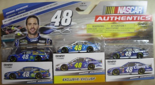 nascar-authentics-jimmie-johnson-3-pack-edition-die-cast-cars-164-scale-with-exclusive-car-collector