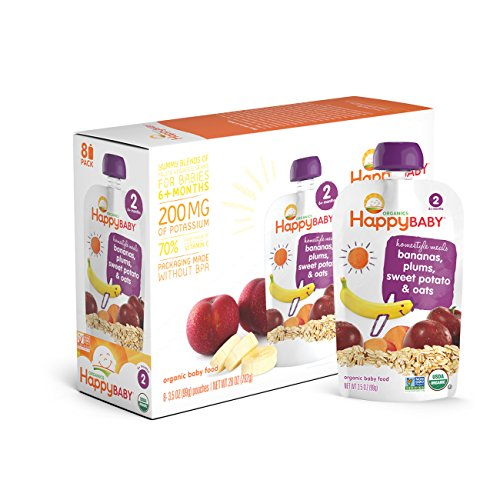 Happy Baby Organic Stage 2 Baby Food, Homestyle Meals, Bananas, Plums, Sweet Potato & Oats, 3.5 oz, (Pack of 16)