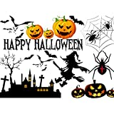Halloween Celebration Decorating Pumpkins Bats Spiders Wall Stickers Removable Home Nursery DIY Wall Decal Art Sticker Gift