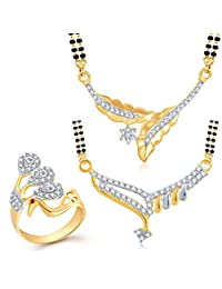 Meenaz Mangalsutra Jewellery Set Combo Gold Plated Cz In American Diamond For Girls &Women Com123