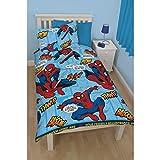 Spiderman Childrens/Kids Thwip Reversible Duvet Cover Bedding Set (Single Bed) (Blue)