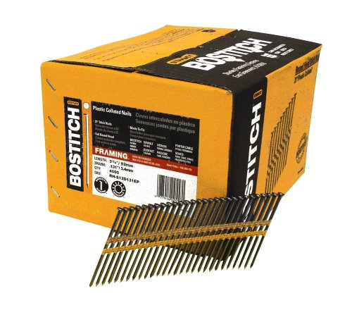 BOSTITCH RH-S12D131EP Round Head 3-1/4-Inch x .131-Inch by 21 Degree Plastic Collated Framing Nail, 4,000 per Box