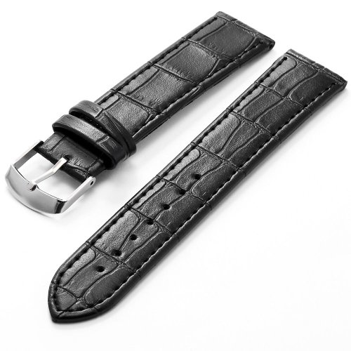KS 20mm Black Genuine Leather Mens Replacement Watch Band Straps WB2042