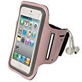 iGadgitz Pink Reflective Anti-Slip Neoprene Sports Gym Jogging Armband for New Apple iPhone 5 5S 5C Cell Phone 4G LTE