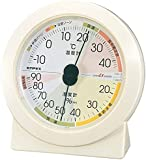 エンペックス気象計 温度湿度計 高精度ユニバーサルデザイン 置き用 日本製 ホワイト EX-2831