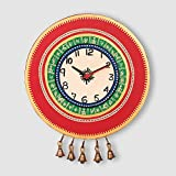 ExclusiveLane Warli Handpainted Wooden Round Clock-Wall Clocks Wall Décor Wall Hangings Gift items Home Décor