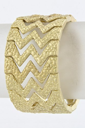 Karmas Canvas Jagged Metal Braclet (Matted Gold)