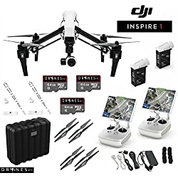DJI T600 Inspire 1 Quadcopter with 4k Video Camera - Dual Controllers Bundle with Hard Case + Extra TB48 Battery (2 Batteries Total!) + 2 FREE Drones Etc. Lanyards + 3 FREE 64GB SD Cards!