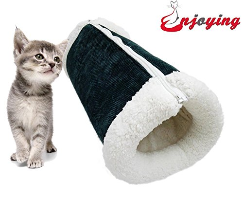 Enjoying 2 in 1 Tunnel Cat Bed Blanket Puppy Doggie Mat Green L