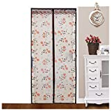 Bopstyle Magnetic Thermal Insulated Door Curtain Enjoy Your Cool Summer And Warm Winter Door Curtain with Flower Design Auto Closer Fits Doors (39