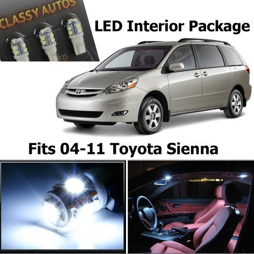 Classy Autos White LED Lights Interior Package For Toyota Sienna (11 Pieces) (Classy Autos White Led Bulbs compare prices)
