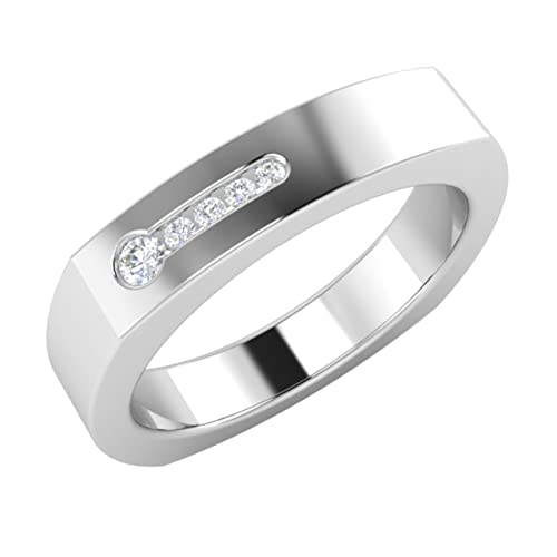 Certified SI Diamond Men's Wedding Ring / Band In Solid 18ct White Gold- Free Engrave