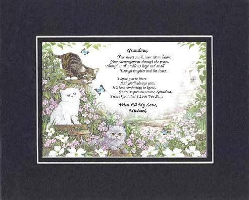 Personalized Touching and Heartfelt Poem for Grandmother - Grandma, Please know I love You So . . .Poem 11 x 14 inches Double Beveled Matting (Black on Black)
