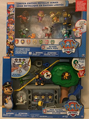 Paw Patrol Limited Edition Action Pack Pup Metallic Series & Paw Patrol Rescue Training Center Playset