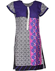 Elegant Cotton Women Kurta (nw-b-kyye, Off White & Purple, Free Size)