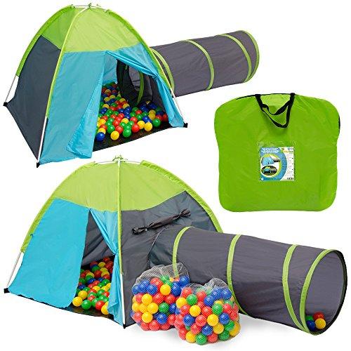 Tienda de campaña infantil NALA Incl. túnel + 200 bolas de colores + bolsa | juego para niños ideal para casa y exteriores | ligera | plegable