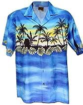 Exclusive Hawaiian Vacation In Paradise Aloha Shirtin Blue (L)