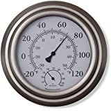 "8"" Satin Nickel Finish Decorative Indoor / Outdoor Thermometer and Hygrometer"