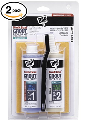 Dap Kwik Seal WHITE Grout: New grout in 3 Quick & Easy Steps! Clean, Seal & Recolor! 3-in-1 kit Includes: (1) Pre-Treat, (1) Color & Seal, (1) Squeeze Top, (1) Brush, (1) Chamois (PACK OF 2 KITS) (Dap Kwik Seal Grout Recolor Kit compare prices)