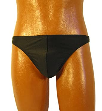 Men' Nylon Lycra Brazil Style Bottom Cut Swim Brief (Small, Black)