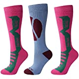 Laulax® 3 Pairs Ladies Long Hose Cashmere-Like Ski Socks, Size UK 3.5 - 8 / Europe 36 - 42, Gift Set