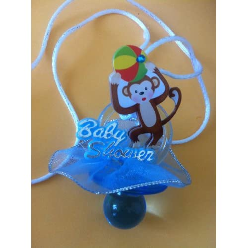 12 baby shower jumbo pacifiers necklaces with monkey blue