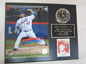 Johan Santana New York Mets 1st Ever No Hitter Collectors Clock Plaque w 8x10 Photo... by J & C Baseball Clubhouse