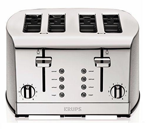 KRUPS-KH734D-Breakfast-Set-4-Slot-Toaster-with-Brushed-and-Chrome-Stainless-Steel-Housing-4-Slices-Silver