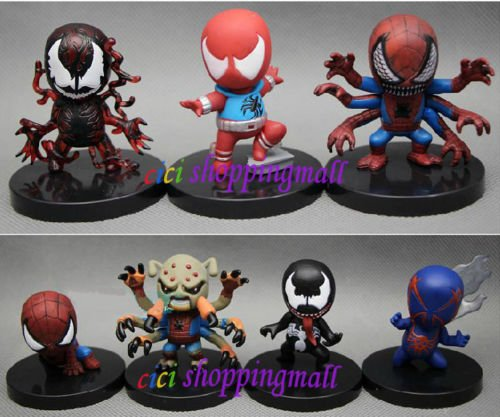 Rare !!! 6 pcs Set Marvel Spider Man 2.5'' Mini collectibles Figures Toys